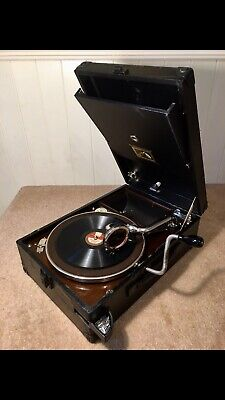 £329 • Buy Quality Luxury Early Black HMV101 WindUp Portable Gramophone 1930~Fully Serviced
