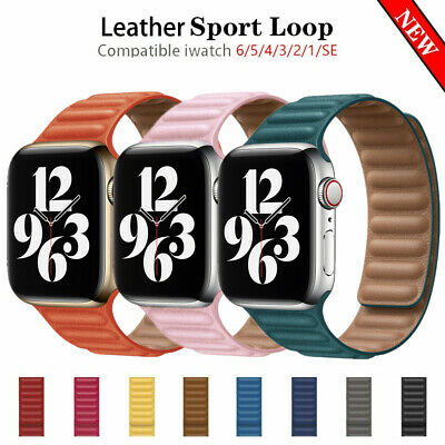 AU16.19 • Buy Leather Link Strap For Apple Watch Band 44mm 40mm 42mm 38mm Magnetic Loop Bumper