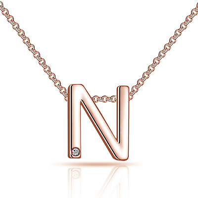 £7.95 • Buy Rose Gold Initial Necklace Letter N Created With Swarovski® Crystals