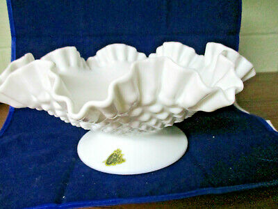 """$15 • Buy VINTAGE Fenton Hobnail Milk Glass  DOUBLE CRIMPED/RUFFLED  Bowl. 10""""Wide/5"""" Tall"""