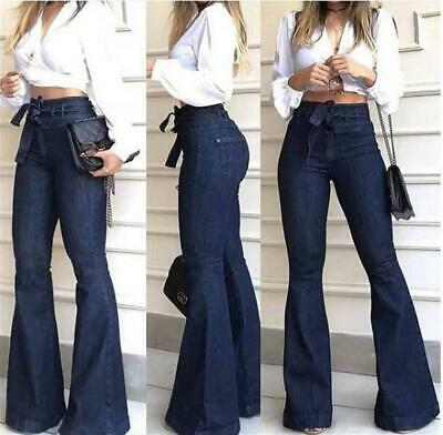 £15.59 • Buy Womens Skinny Denim Long Pants Flare Bottoms High Waisted Stretch Jeans Trouser