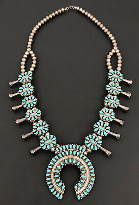 $ CDN844.11 • Buy Vtg Navajo Petit Point Cluster Blue Turquoise Sterling Squash Blossom Necklace