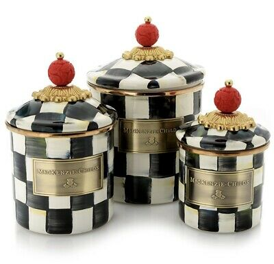 $259.99 • Buy MacKenzie-Childs Set Of 3 Courtly Check Set Of 3 Canisters Mini, Demi Small