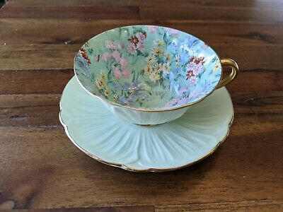 £181.08 • Buy Shelley Melody Chintz Green Oleander Gold Teacup Tea Cup Saucer Pink Flowers