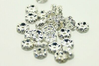 £3 • Buy 50 Silver Plated Wavey Clear Rhinestone Rondelle 8mm Spacer Beads DIY Jewellery