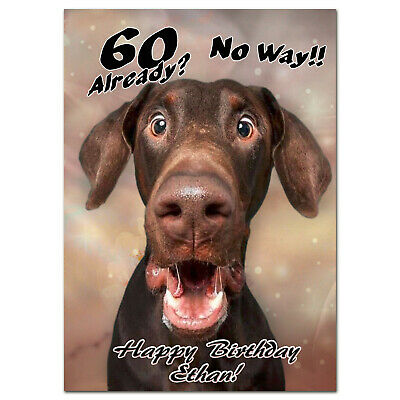 £3.75 • Buy B441; Great Personalised Birthday Card *Any Name Age Text* Funny Surprised Dog