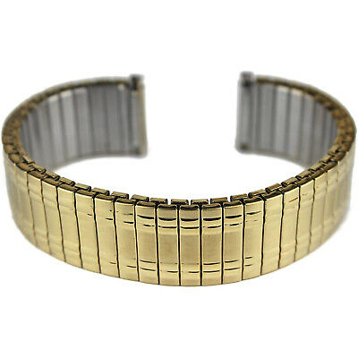 £9.89 • Buy Mens Gold Plated Expanding Stretchy Watch Strap Expandable Bracelet 18 20 22mm