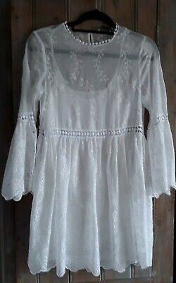 £16.90 • Buy Zara White Broderie Anglais Short Lace Dress With 3/4 Bell Sleeves And Slip XS