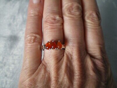 £26 • Buy Mexican Fire Opal Ring, 0.9 Carats, Size N/O, 3.05 Grams Of 925 Sterling Silver