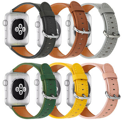 £5.99 • Buy Genuine Leather Replacement Wristband Strap For Apple Watch IWatch SE 6 5 4 3 2