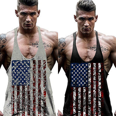 £11.39 • Buy Mens American Flag Fit Summer Muscle Workout Gym Tank Tops Vest T-Shirts Sports