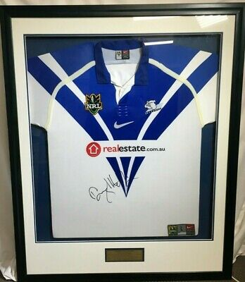 AU149 • Buy DARYL HALLIGAN - SIGNED AND FRAMED RUGBY LEAGUE JERSEY - 110cm X 90cm