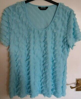 £9.95 • Buy Forever By Michael Gold Aqua/Turquoise Stretch Ruffle Top XL (16-18)
