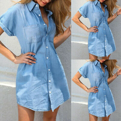 £13.39 • Buy Womens Short Sleeve Long Denim Blouse Ladies Casual Buttons Jeans Tops T Shirt