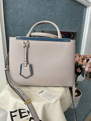£395 • Buy Fendi 2 Jours Small Bag Taupe/grey With Fuchsia Interior