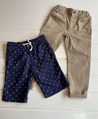 £8 • Buy Boys Age 3-4 Years Chino Trouser Stone Colour Button Up Anchor Print Navy Shorts
