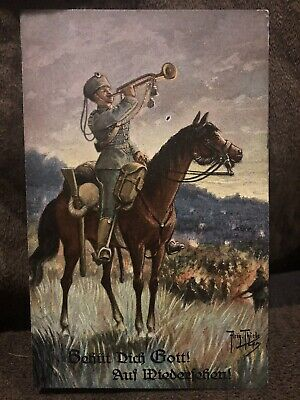 $10 • Buy WW1 Antique Vintage Military Soldier With Trumpet Postcard Artist Signed Thiele