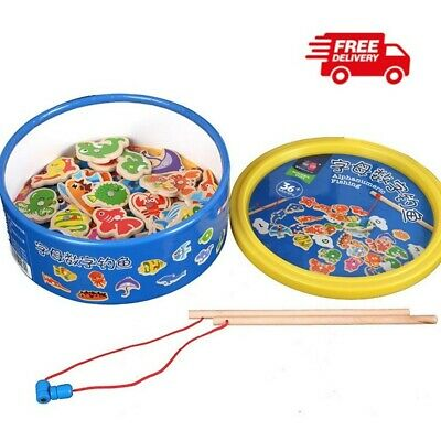 £9.29 • Buy Magnetic Fishing Game Fish Rod Children Boys Girls Baby Educational Wooden Toys
