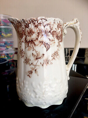 £12 • Buy Antique Water Milk Jug Decorated With Brown Foliage Design A/F.