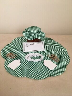 £3.30 • Buy 10 X Gingham Jam Jar Covers,Bands,Ties,Tags & Labels