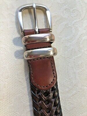 $17.99 • Buy Fossil Brown Leather Braided Woven Belt Size 36 Mens Double Keeper, Metal End