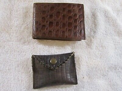 $8 • Buy Old Alligator Pattern Leather Bill Fold And Change Purse