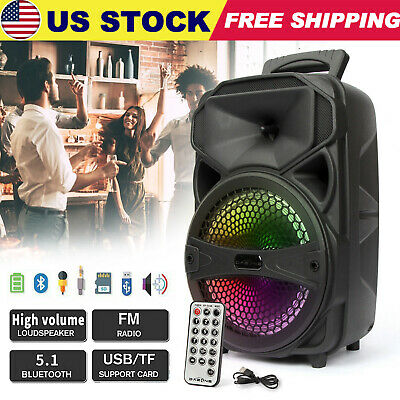 $38.99 • Buy 8  1000W Portable FM Bluetooth Party Speaker Subwoofer LED Stereo Sound System