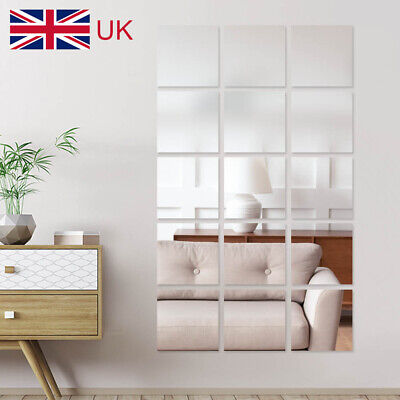 £8.59 • Buy 40Pcs Glass Mirror Tiles Wall Sticker Square Self Adhesive Stick On DIY Home