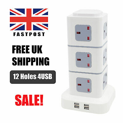 £19.89 • Buy Tower Socket Extension Lead 12 Way Cable Surge Protected Power With 4 USB Port