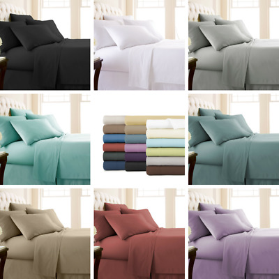 AU25.99 • Buy 1000TC 4PCS Single/KS/Double/Queen/King Bed Flat Fitted Sheet Set Pillowcase Bed