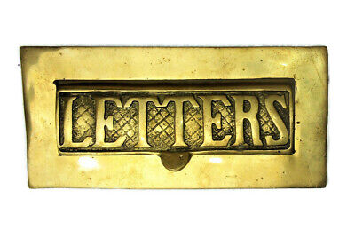 $89.99 • Buy Antique Vintage Heavy Solid Brass Mail Slot Letter Box Plate Reclaimed Salvage