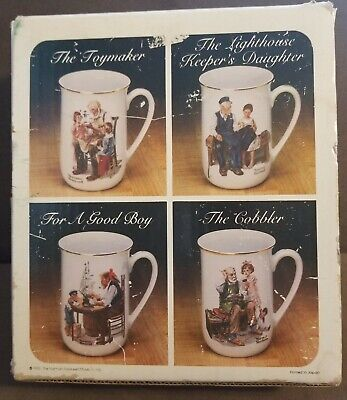 $ CDN19.42 • Buy Norman Rockwell Museum Collection 1982 Coffee Mugs Cups Set Of 4 In Box