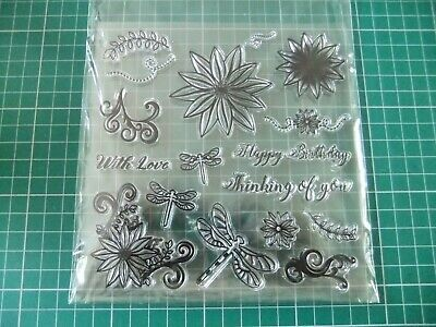 £4.99 • Buy Set Of 17 ''Floral And Sentiments'' Clear Stamps --- Stamps By Chloe Range