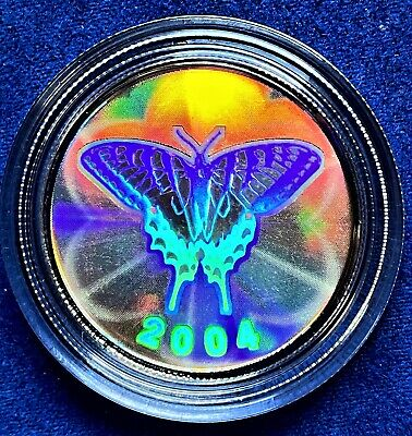 $36.85 • Buy 2004 Canadian 50 Cent Tiger Swallowtail Butterfly Sterling Silver Hologram Coin