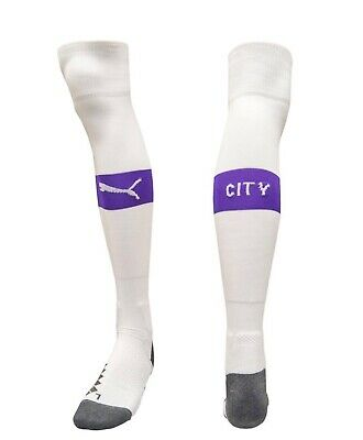 £7.99 • Buy Official Manchester City Football White/Purple Puma Home Socks UK Size 9-11