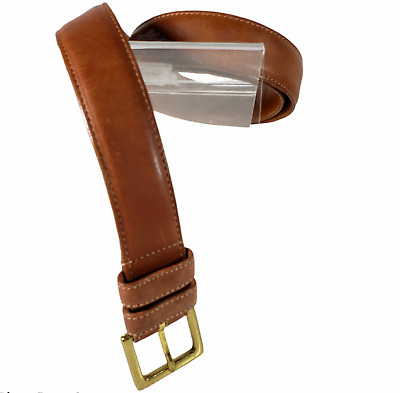 $28.99 • Buy Coach Size 34 Men's Belt Brown Leather Glove Tanned Brass USA 1 3/16  Wide