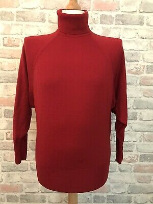 £25 • Buy Aquascutum Mens Red Turtleneck Knit Pullover Jumper Size Small
