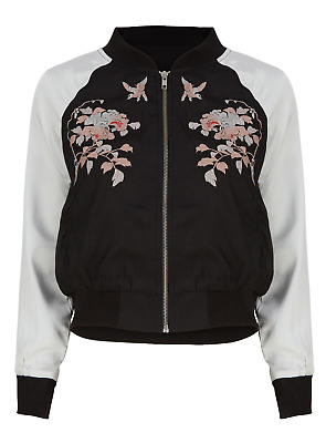 £9.95 • Buy Brand New Ladies Full Zip Floral Embroidered Satin Bomber Jacket Sizes 8-18