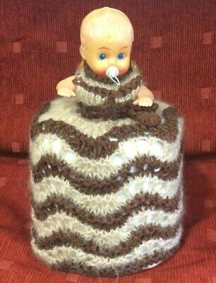 £4.99 • Buy Vintage Knitted Doll Toilet Roll Cover