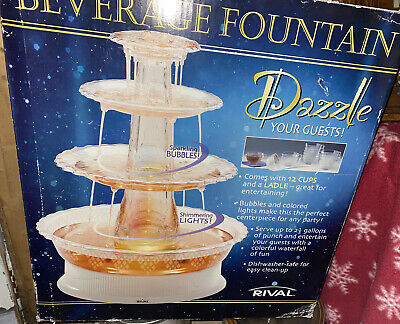 """£35.39 • Buy Rival """"dazzle"""" Beverage Party Cocktail Drink Fountain Lights Up Sparkling"""