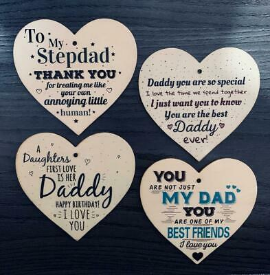 £2.99 • Buy Wooden Plaque Heart Present Sweet Message Dad Stepdad Gift Father's Day Birthday