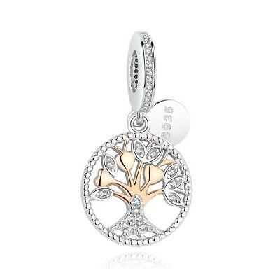 AU25.99 • Buy Sterling Silver & Rose Gold Family Love Heritage Tree Charm  - Pandora's Wish
