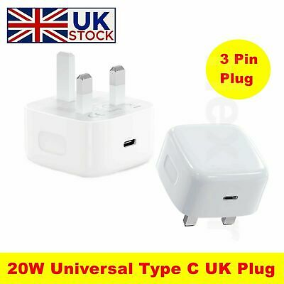 £8.79 • Buy UK PLUG FOR IPHONE 11 12 12PRO XR XS MAX PD 20W USB Type C FAST CHARGER ADAPTER