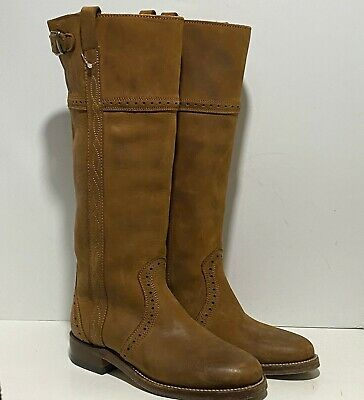 £47.37 • Buy Sancho Boots Women's 6 Camel Brown Leather Buckle Knee High Hand Made Cowboy
