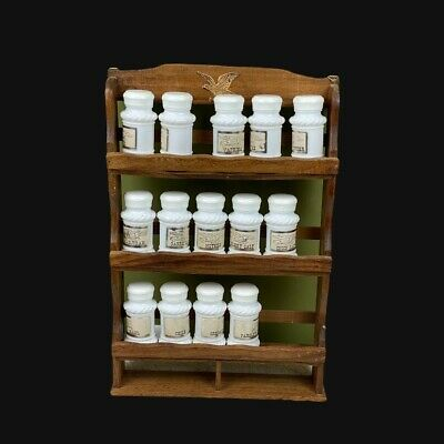 $28 • Buy Vintage Spice Rack With Milk Glass Spice Jars Eagle On The Spice Rack And Labels
