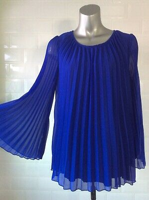 £15 • Buy Size 14 Glamorous Blue Concertina Pleat Chiffon Blouse Top Party Wedding Summer