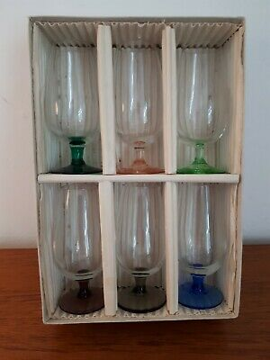 £20 • Buy Vintage Set Of 6 Harlequin Colour Stems Sherry Aperitif Glasses. C 1950's, Boxed