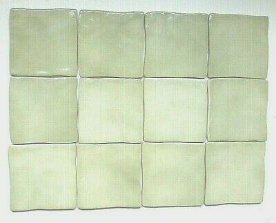 £8.88 • Buy 12 PRETTY PALE GREEN/SAGE (Not Olive) WAVY EDGE CERAMIC WALL TILES - 10CM
