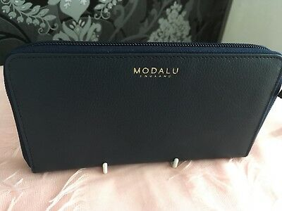 £29 • Buy Modalu Pippa Zip Around Leather Purse In Ink Navy Brand New With Tags Retail £69
