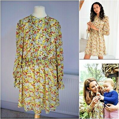 £35 • Buy & Other Stories Paris Atelier Yellow Floral Floaty Dress Size 14 Kate Middleton